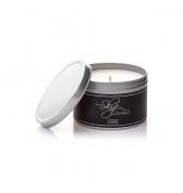 Čierna sviečka dekoračná v plechovke borievka